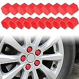Andux Land Wheel Lug Nut Covers Silicone20PCS LSBHT-01 (Red, 19mm)