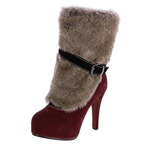 KemeKiss Zipper Red Women Boots Fashion Party qnUr0vxU8