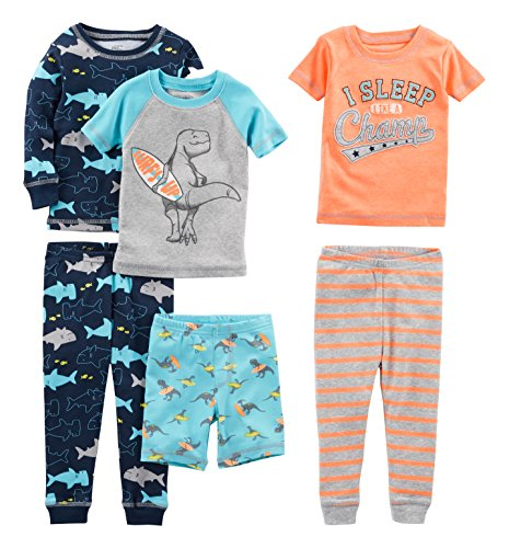 Simple Joys by Carter's Baby Boys' Toddler 6-Piece Snug Fit Cotton Pajama Set, Shark/Champ/Surf, 3T