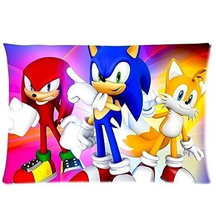 Diseño personalizado funda de almohada de Sonic el erizo ropa de cama funda de almohada con