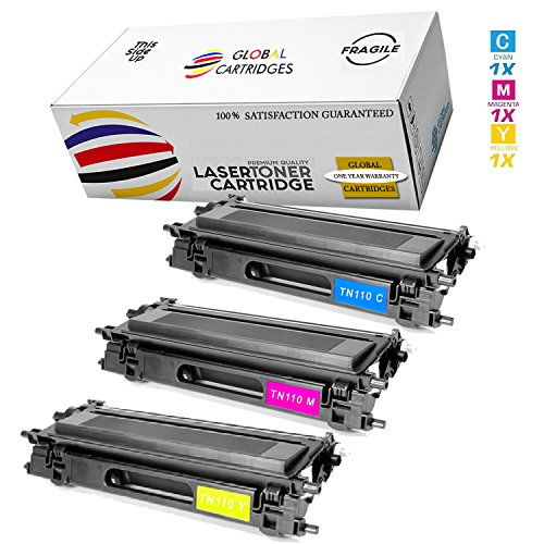 Color Hl4040cn Brother Laser - GLB Premium Quality High Yield Remanufactured Brother TN110 Toner Cartridges Color Set (Cyan, Yellow, Magenta)