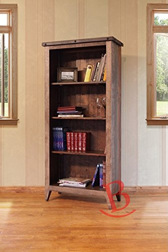 70 Inch Quality Solid Wood Bookshelf Rustic Western Multi Color With 3 Adjustable Shelves