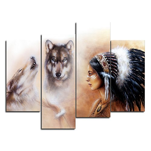 Wolf Indian Poster - VIIVEI Native American Indian Girl Woman Wolf Animal Wall Art Canvas Modern Artwork Posters Prints Pictures for Bedroom Living Room Home Decor Painting 4 Panel Framed Ready to Hang (48