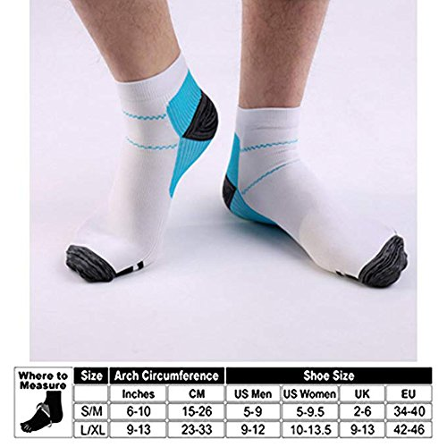 Sport Plantar Fasciitis Arch Support Compression Foot Socks/Foot Sleeves (7 Pairs) - Increases Circulation, Relieve Pain Fast (Black&Blue, L/XL) by Iseasoo (Image #6)