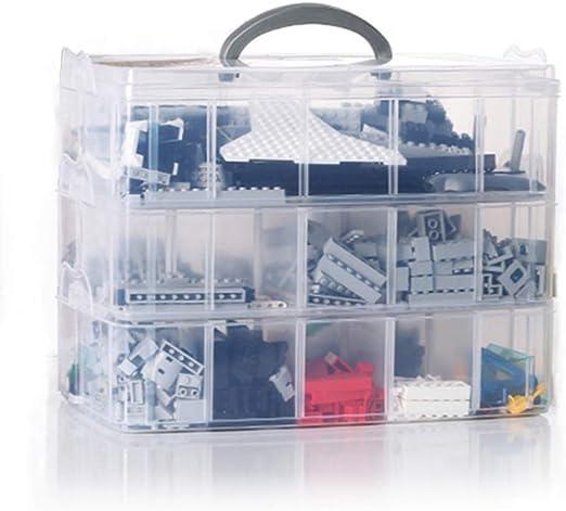 E-isata 3 Niveles Caja Almacenamiento Plástico Transparente 30 Mini Compartimentos Ajustables - Organizar, Hilos de Coser Cuentas Artículos de Belleza Artes Accesorios Toys,25,8 * 16,8 * 18,5 CM: Amazon.es: Hogar