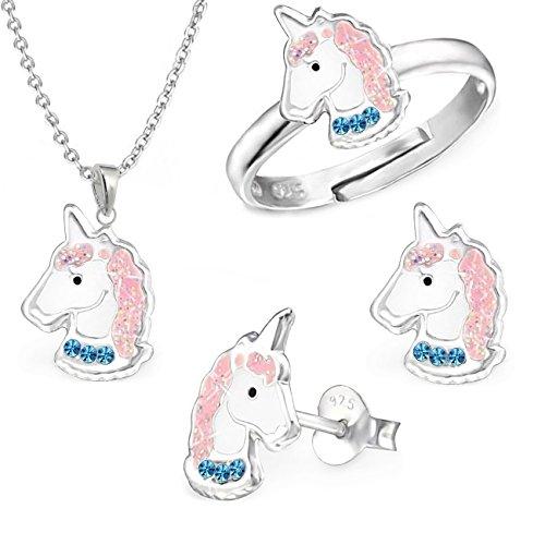 gh1a Azul Cristal Unicornio Juego Ring + Colgante + Collar + Pendientes Plata 925