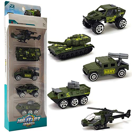 Ocamo 5Pcs/Set Pull Back Car Mold Toys Alloy Military Vehicle Car Model Kids Children Car Playing Toys ()