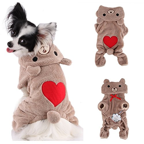Large Dog Teddy Bear Costume (Vvhome Pet Puppy Dog Love U Red Heart Bear Warm Fleece Hoodie Winter Clothes Jumpsuit Coat for Small Medium Large Dogs Cats (Brown, L))