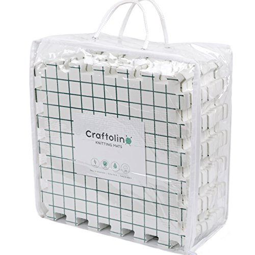 Craftolino Blocking Mats for Knitting - 9 Extra Thick Boards With 1 Inch Spaced Grid - For Needlepoint or Crochet - With 100 T-Pins and Convenient Storage Bag With (100 Block Grid)