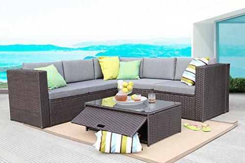 Baner Garden K35-CH 4 Pieces Outdoor Furniture Complete Patio Cushion Wicker Rattan Garden Corner Sofa Couch Set, (Chocolate Sectional)