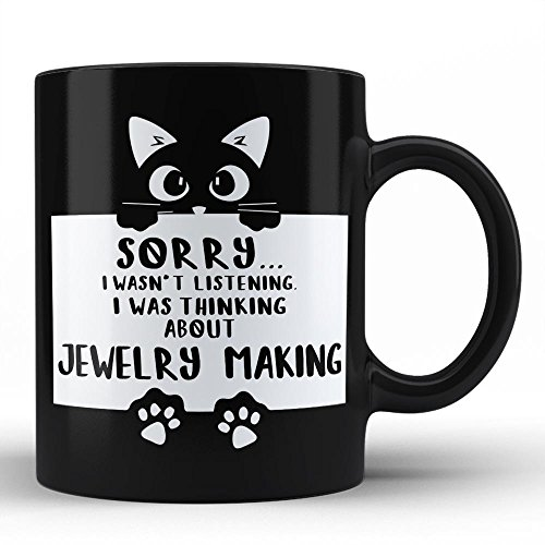 Jewelry Making Funny Black Coffee Mug by HOM Personalised Gift for Hobbies Mug by HOM