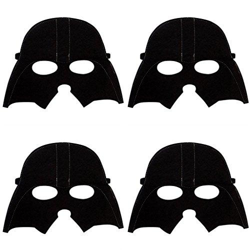 [4 Pack MASKS Superhero or Princess Kids Childrens Halloween Costume, Super Hero Party Favors (Darth Vader)] (Princess Darth Vader Halloween Costume)