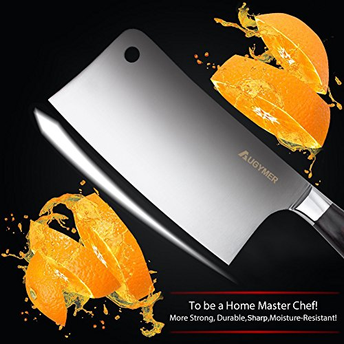7 Inch Meat Cleaver, AUGYMER German High Carbon Stainless Steel Chinese Vegetable Cleaver Knife with Ergonomic Wood Handle for Kitchen and Restaurant by AUGYMER (Image #4)