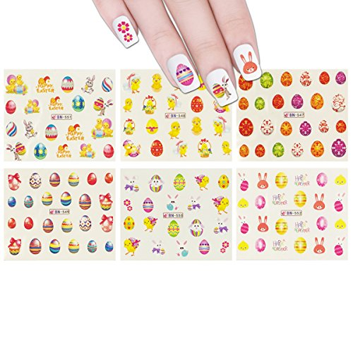 ALLYDREW 12 Sheets Easter Nail Art Water Slide Bunny Nail Decal Set