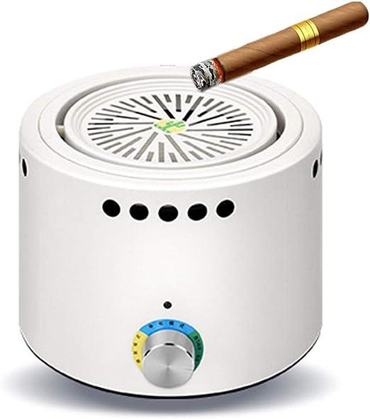 JHQYHG Ceniceros sin Humo para Cigarrillos de bajo Ruido del purificador del Aire del cenicero USB Recargable de Segunda Mano desodorización de Humo al Aire Libre de Interior,Blanco: Amazon.es: Hogar