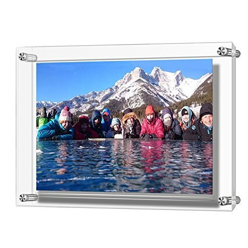 A3 Acrylic Wall Hanging Photo Frames, Holds Biggest Pictures 16.5 x 12 Inches by Boxalls, 3mm+3mm Thickness Clear