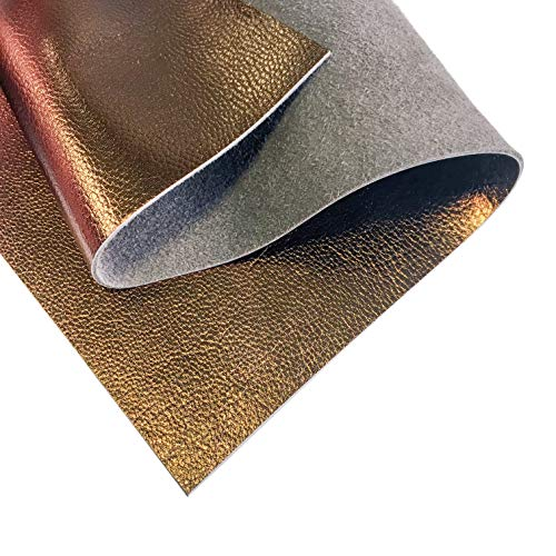 Genuine Leather Metallic Leather Fabric (Bronze, 10x10In/ 25x25cm)