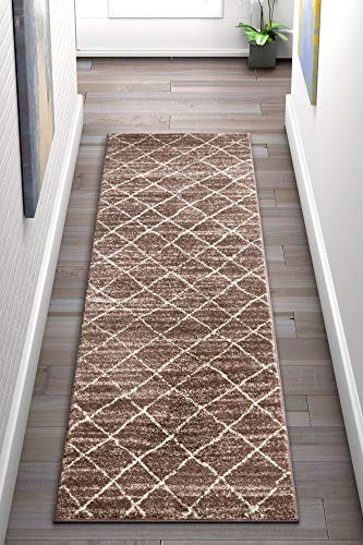 Well Woven Casbah Brown Moroccan Lattice Vintage Modern Casual Traditional Trellis 2 x 7 (2'3