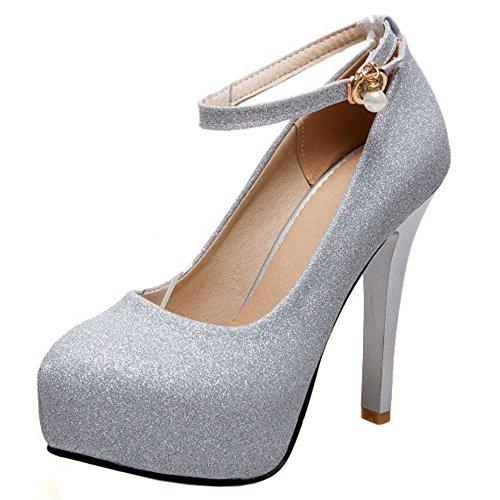COOLCEPT Mujer Moda Correa de Tobillo Fiesta Zapatos Plataforma Tacon de Aguja Bombas Zapatos Tamano Grande Plata
