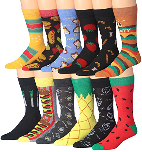 James Fiallo Men's 12-Pairs Colorful Funky Novelty Crew Socks, M184-12.