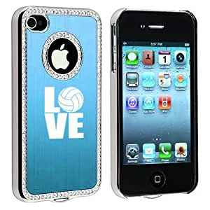 Apple iPhone 4 4S 4G Light Blue S696 Rhinestone Crystal Bling Aluminum Plated Hard Case Cover Love Volleyball