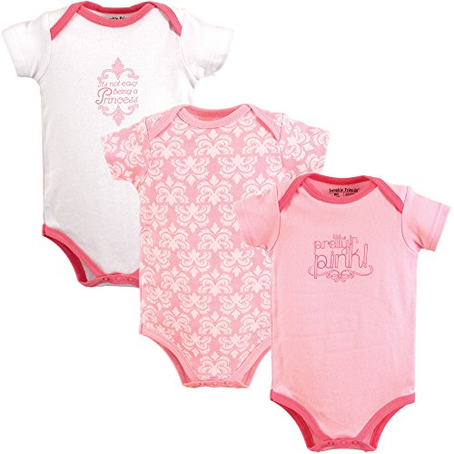 Luvable Friends Unisex Baby Cotton Bodysuits, Pretty in Pink Short Sleeve 3 Pack, 9-12 Months -