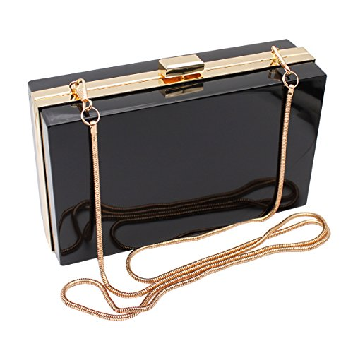 HQdeal Luxury Acrylic Fashionable Evening Clutches Shoulder Bags Handbag for Women Ladies Gift (Frame Black Handbags)