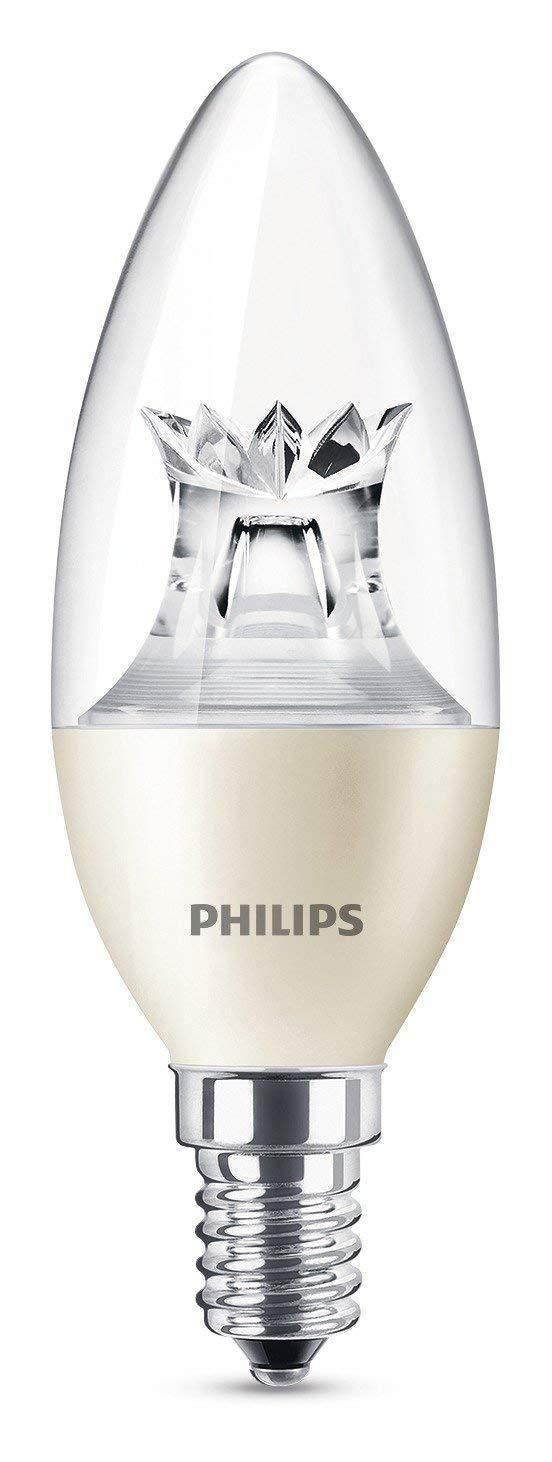 Philips bombilla LED Vela E14, 5.5 W equivalentes a 40 W en incandescencia, luz blanca cálida: Amazon.es: Iluminación