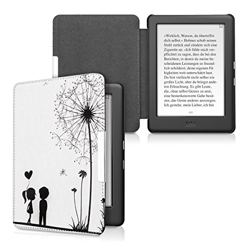 kwmobile Case for Kobo Glo HD (N437) / Touch 2.0 - Book Style PU Leather Protective e-Reader Cover Folio Case - black white by kwmobile (Image #5)