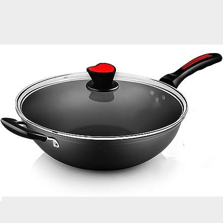 Wok antiadherentes y sartenes con tapa, wok de cerámica con