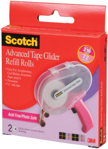Scotch 085-RAF 1/4-Inch by 36-Yard Acid Free ATG Advanced Tape Glider Refill Rolls, 2 Rolls per Box (Photo Tape Gun)