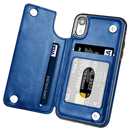 iPhone XR Case,Hoofur Slim Fit Premium Leather iPhone XR 2018 Wallet Case Card Slots Shockproof Folio Flip Protective Shell for Apple iPhone XR (6.1 inch) 2018 (Blue)