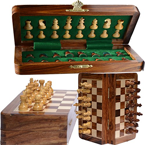Chess Bazar – Magnetic Travel Pocket Chess Set – Staunton 7 X 7 Inch Folding Game Board Handmade in Fine Rosewood