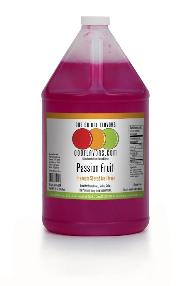 OOOFlavors Passion Fruit Snow Cone Flavored Syrup- 1 Gallon