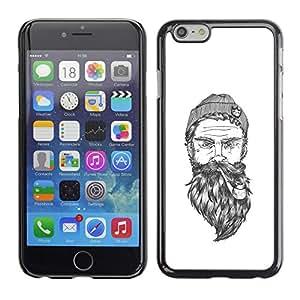 Barba Capitán Art White Man Pipe Marinero- Metal de aluminio y de plástico duro Caja del teléfono - Negro - iPhone 6