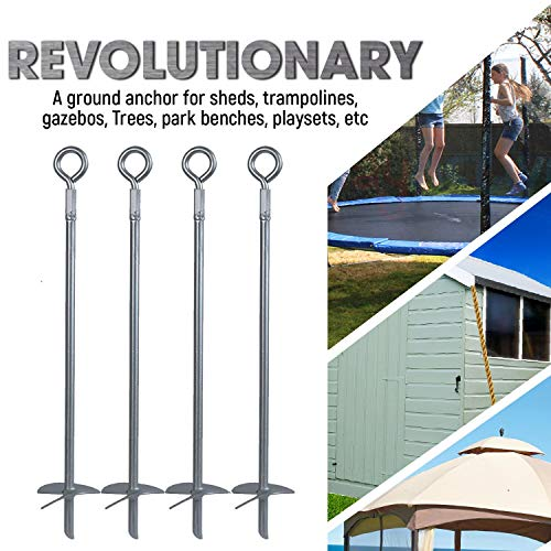 Powerful 4-Piece Earth Auger Shed Anchor Kit - 1000 LBS Pressure Tested  Hold Per Stake – 10 Sec Install w/ Cordless Drill  Heavy Duty, Reusable,  Rust
