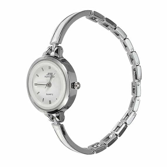 Reloj de pulsera Joya reloj forma dial rotonda Blanco Cierre de gancho Cuarzo analógico Mujer Plata