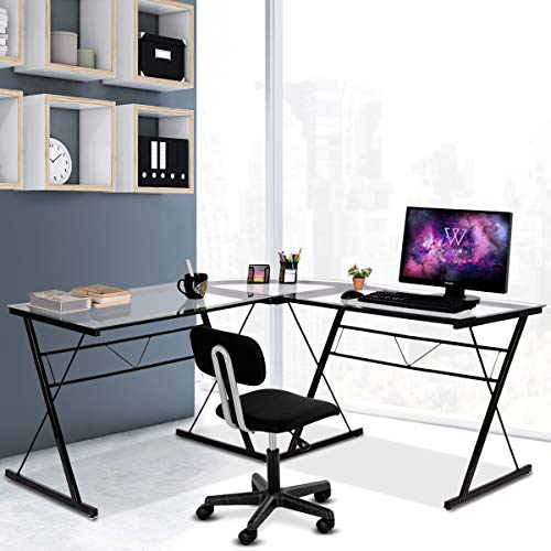 Tangkula L- Shaped Corner Desk, Corner Computer Desk, Modern Simple Style 3-Piece Metal Frame Study Laptop Desk Writing Gaming Table, Computer Workstation with Glass Top, Home Office Studio