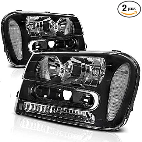 Headlight Assembly For 2002 2009 Chevy Chevrolet Trailblazer Replacement Black Housing Headlamp Except For 2006 2009 LT Models Pair