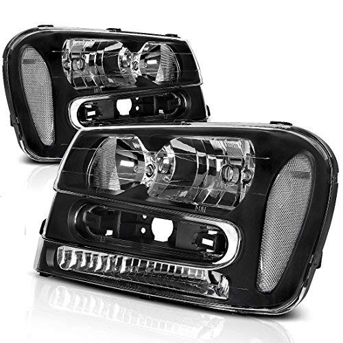 Headlight Assembly for 2002-2009 Chevy Chevrolet Trailblazer Replacement Black Housing Headlamp (Except for 2006-2009 LT models, Pair) ()