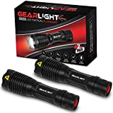 GearLight Ultra Bright Tactical Flashlight V1000 [2 Pack] - Adjustable Focus, Multi-Functional, Water Resistant, Handheld Light - Best High Lumen, Everyday Carry LED Flashlights