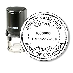 Round Notary Stamp for State of Oklahoma - Self Inking Stamp - Features the ExcelMark Double Sided Ink Pad for Longer Product Life
