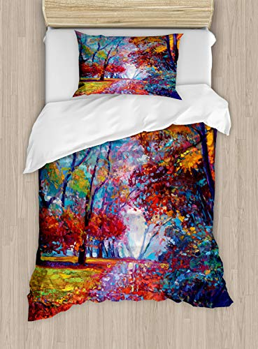 Twin Quilt Fairies - Ambesonne Country Duvet Cover Set Twin Size, Colorful Fairy Paint of Park in Fall View of The Earth in Oil Painting Style Print, Decorative 2 Piece Bedding Set with 1 Pillow Sham, Multicolor