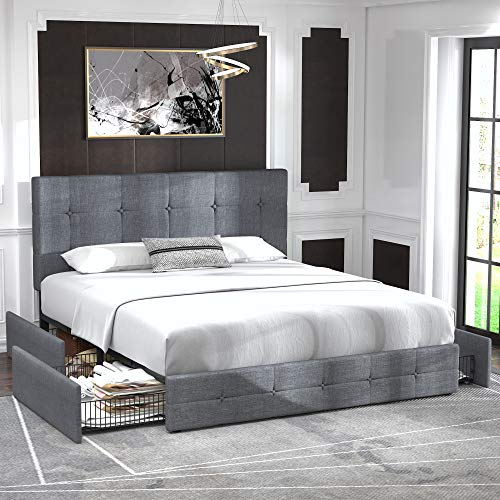Allewie Queen Platform Bed Frame with 4 Drawers Storage and Headboard, Square Stitched Button Tufted Upholstered…