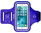 Tribe Water Resistant Cell Phone Armband Case for iPhone 8 Plus, 7 Plus, 6 Plus, 6S Plus, Samsung Galaxy S9 Plus, S8 Plus, A8 Plus, Note 4/5/8/9 with Adjustable Elastic Band for Running, Walking