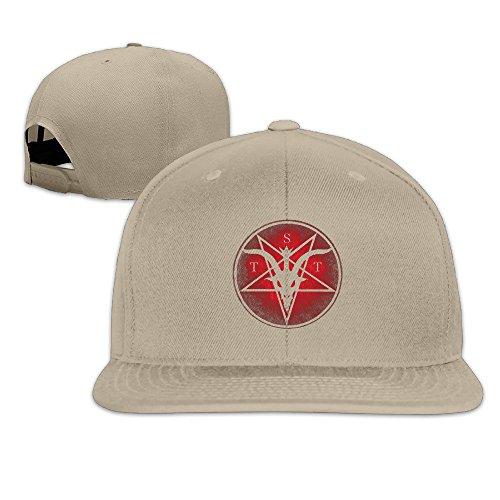 Unisex Evil Satanic Temple Logo Snapback Ajustable Flat Cap Natural