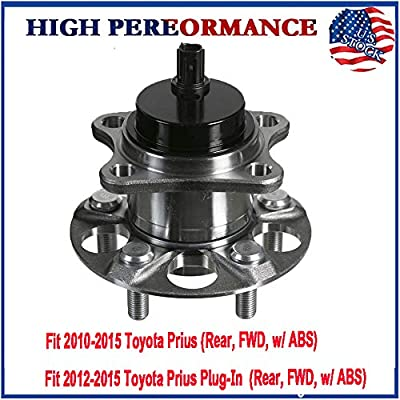 MotorbyMotor Rear Wheel Bearing Hub Assembly Fit 2010-2015 Toyota Prius, 2012 2013 2014 2015 Toyota Prius Plug-in Hub Bearing(2PK) w/ABS, 5 Lugs, Replace 512505 (Will Not Fit Toyota Prius V): Automotive