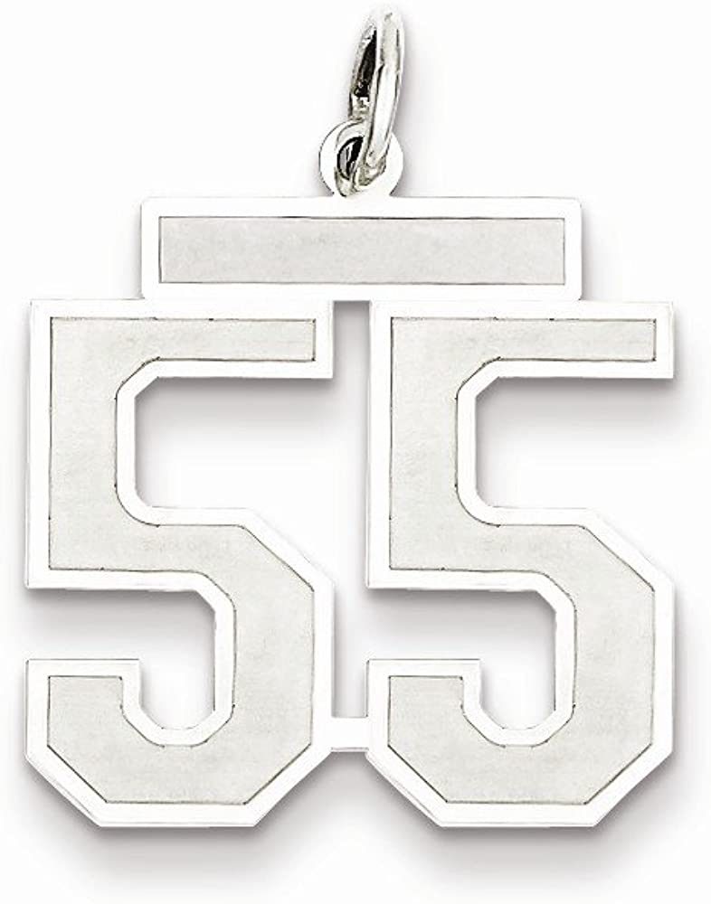 Beautiful Sterling silver 925 sterling Sterling Silver Rhodium-plated Medium Satin Number 55 Charm