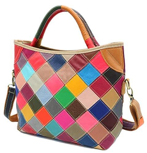 Color Multi Pink Handbag (Womens Genuine Leather Multicolor Tote Shoulder Bag (Colorful))