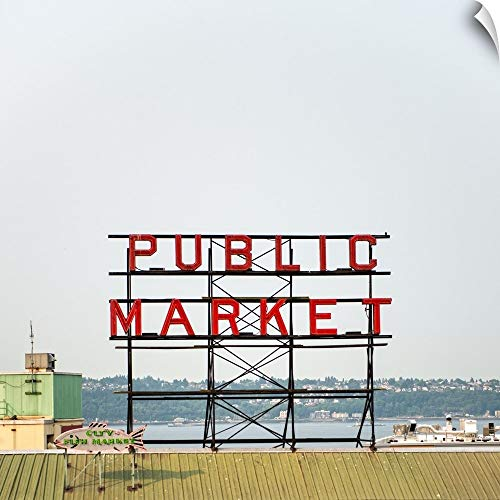 - CANVAS ON DEMAND Public Market Sign, Pike Place Market, Seattle, WA Wall Peel Art Print, 35